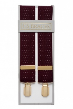Maroon Trouser Braces with Small White Polka Dots